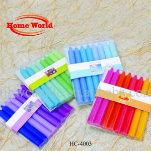shade colors decorative taper candles in PVC box