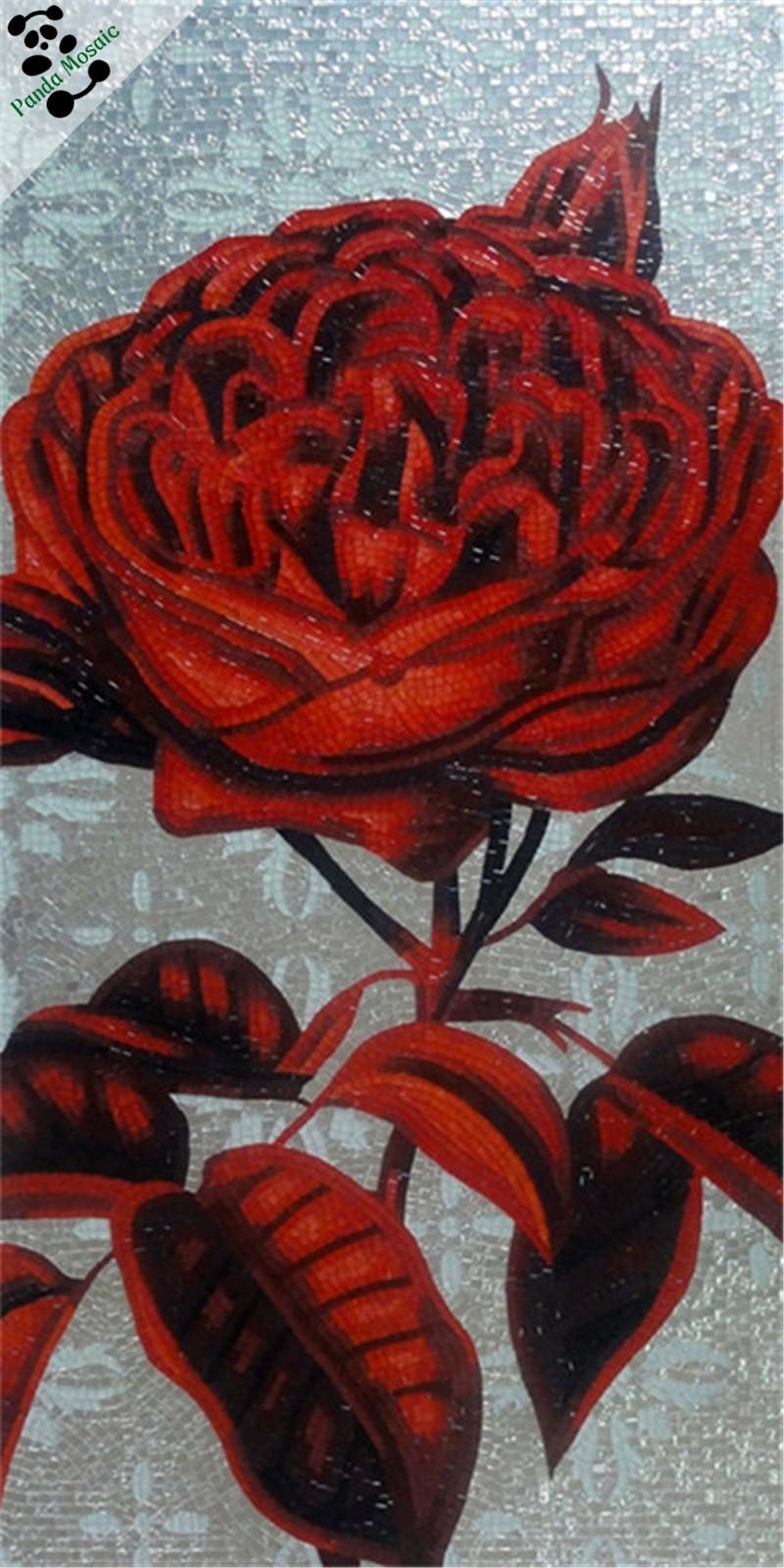 Mb Smm15 B Iç Dekor Cam Boyama El Yapımı çiçek Mozaik Duvar Resimleri Kırmızı Gül Backsplash çini Mozaik Karo Resmi Buy Mozaik Karo Resmikırmızı