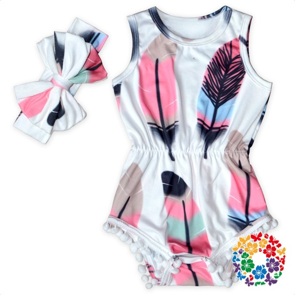 Colorful Feather Print Jumpsuit Stylish FAUX SUEDE Baby Romper Jumpsuits Sleeveless Kids One Piece Jumpsuits