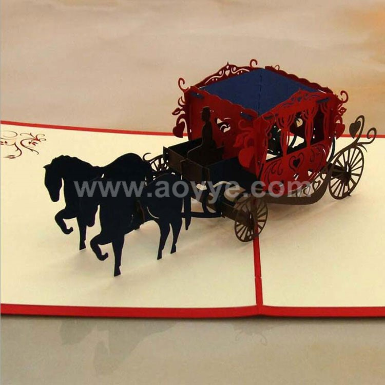 Manufacturers selling handmade three-dimensional wedding carriage 3 d greeting card
