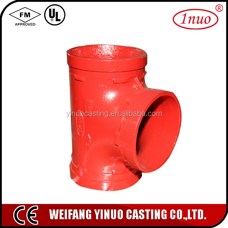 UL FM approved tee pipe fitting cast iron grooved reducing equal tee