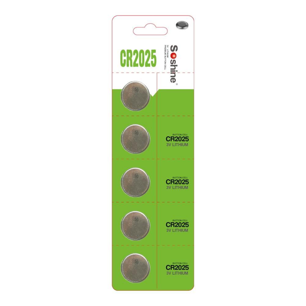 Soshine CR2025 düğme CR2025 3 v Lityum pil (1 paket 5)