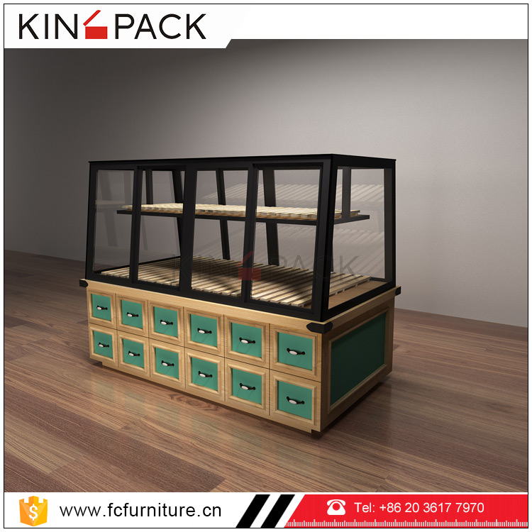 China factory wood stand bakery display rack cases pastry food counter for bread <strong>retail</strong> store showcase for sale