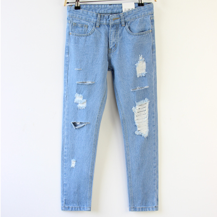 aa2566b7b0a Get Quotations · womens jeans Holes Casual Fashion Harem pants Large size  2015 New women ripped jeans Loose Cotton