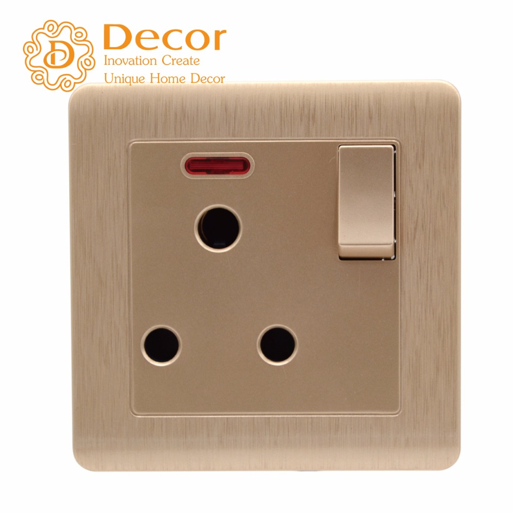 Flame-retardant pc panel standard grounded BS546 wall socket with child proof gate
