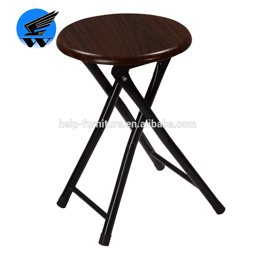 Round step folding stool with MDF board and PVC surface