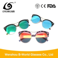 High end popular half frame sunglasses, 2017 colorful eyewear for women