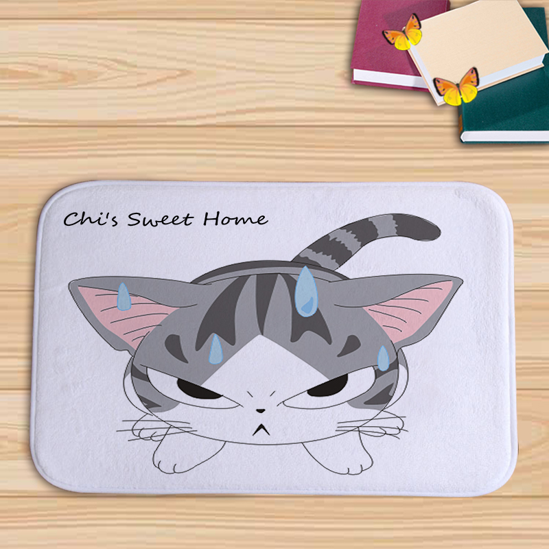 PEIYUAN Flannel Doormat New Design Cartoon Cute cat Floor Mat Tapete for Bed Roon Living Roon Decor House