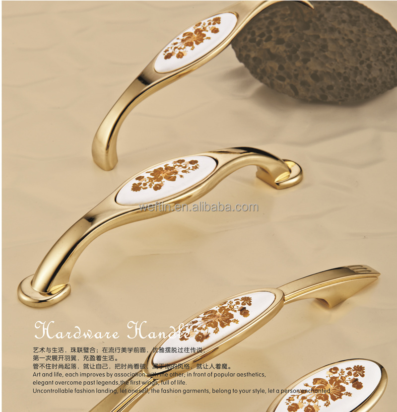 Vintage Look Flower Ceramic Drawer Handles Furniture Pulls Hardware gold color