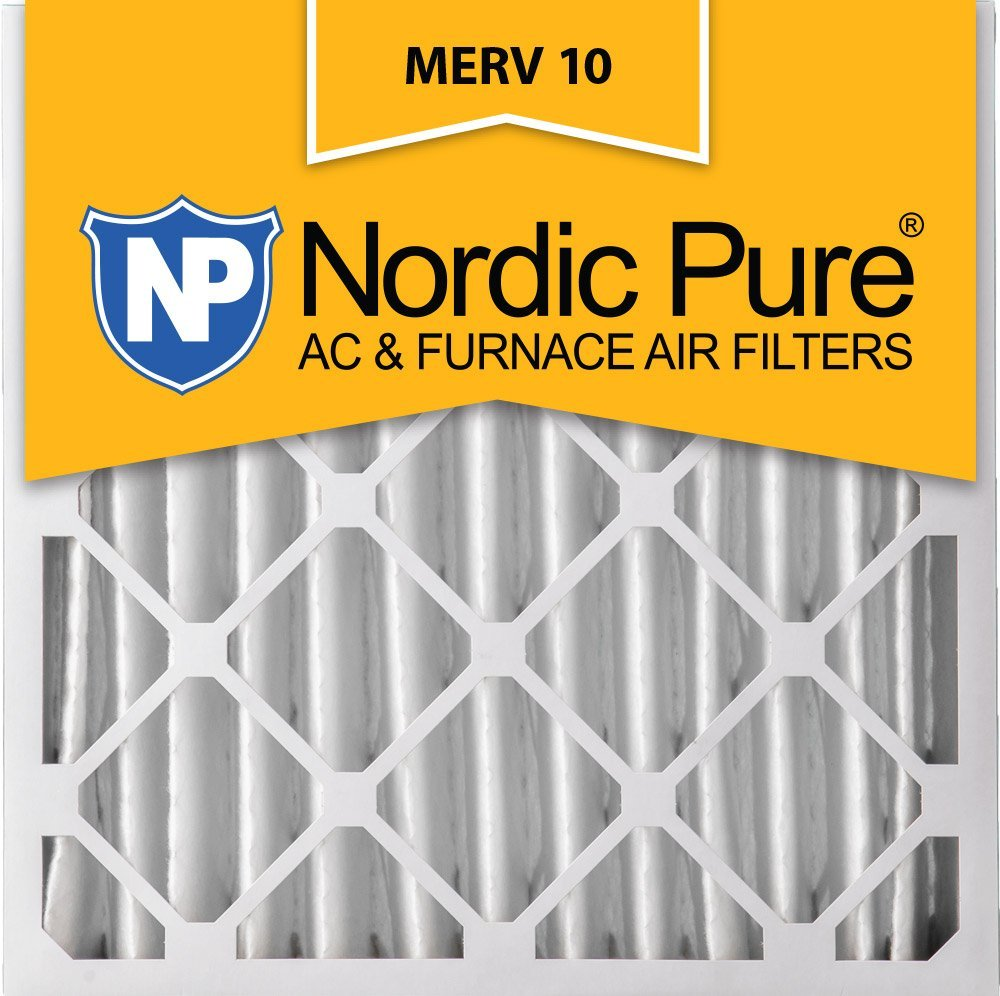 Nordic Pure 20x20x4 (3-5/8 Actual Depth) MERV 10 Pleated AC Furnace Air Filter, Box of 2