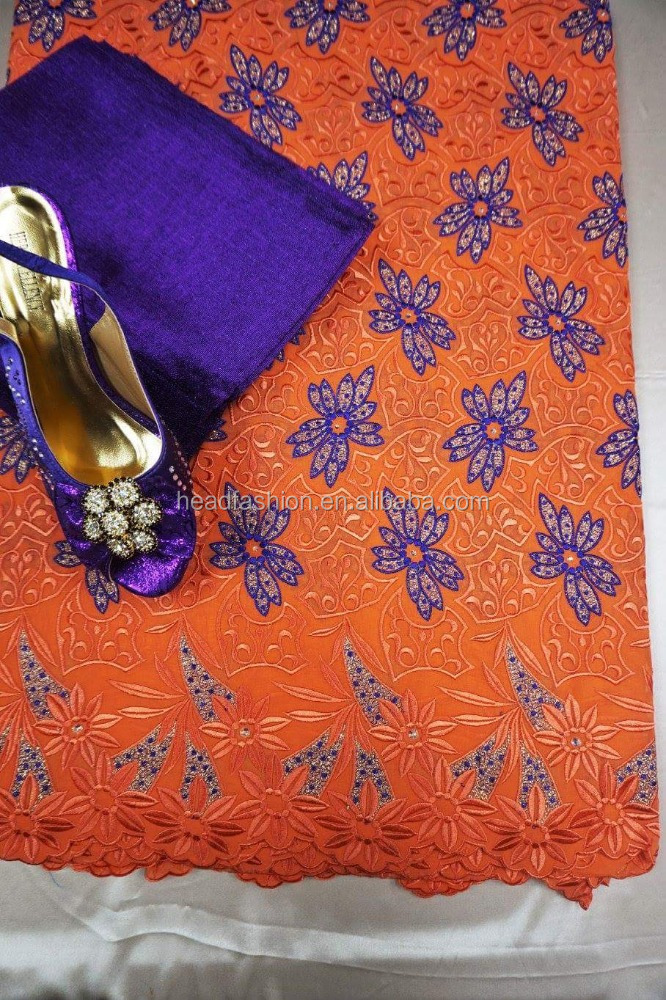 orange high quality swiss voile lace fabric swiss cotton fabric in guangzhou lace market