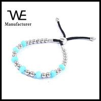 Shiny Silver Color Bead Bangle Girl's Bracelet Adjustable Design