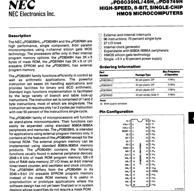 High-speed,8-bit,Single-chip Hmos Microcomputers Upd8039 Upd8039hlc D8039lc  Dip40 - Buy D8039lc,Upd8039hlc,Single-chip Hmos Microcomputers Product on