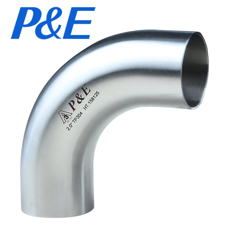 L2S Sanitary Stainless Steel 90 Degree Long Elbow With Tangent