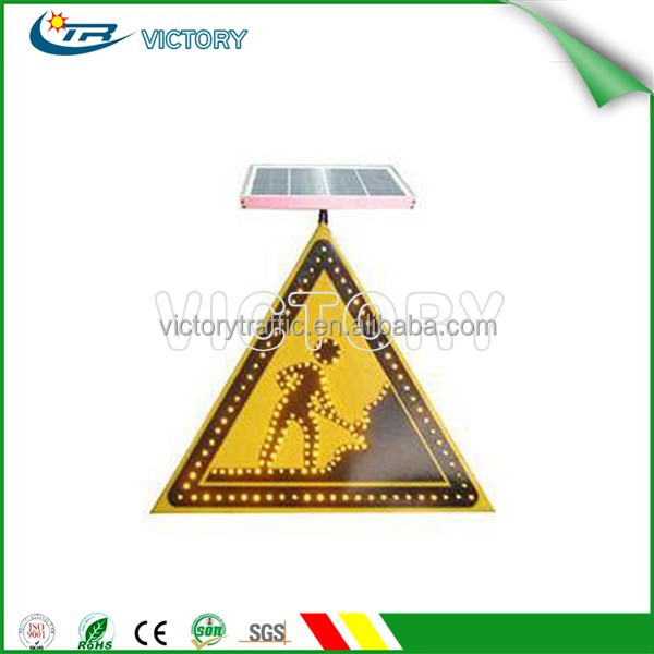 Solar luminous traffic warning sign, Consturction ahead traffic warning sign