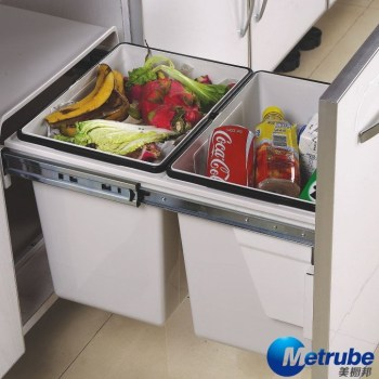 European Style Cabinet Plastic Built In Waste Bin For Kitchen
