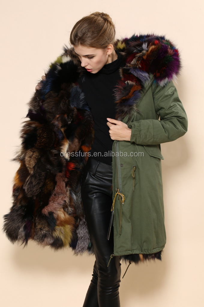 Noble Elegant Parka Coats With Fur Hood Fox Colorful Fur Thick ...