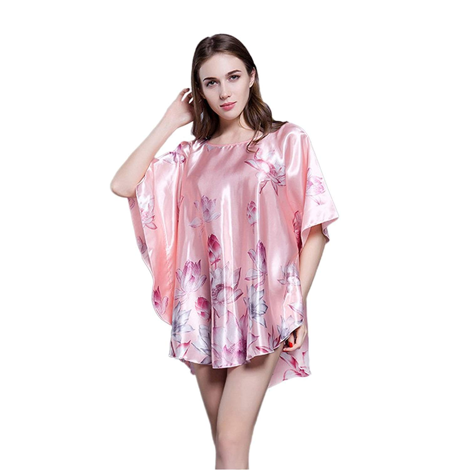 b205bf3f5cb7 Get Quotations · Women s Sexy Silk Pajama Satin Nightdress Batwing Sleeve Nightgown  Plus Size