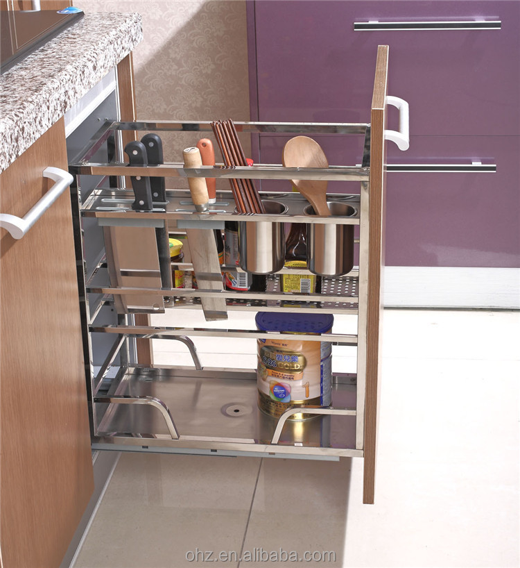 Home Choice Stainless Steel Kitchen Cabinet Pull Out Storage Basket Organizer