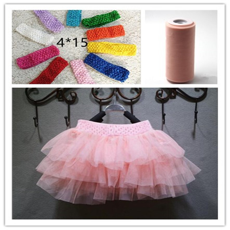New 4 15cm Diy Baby Girl S Tutu Skirt Hair Bow Elastic Stretched Crochet Tube Wrap Chest Tulle Roll Accessories B