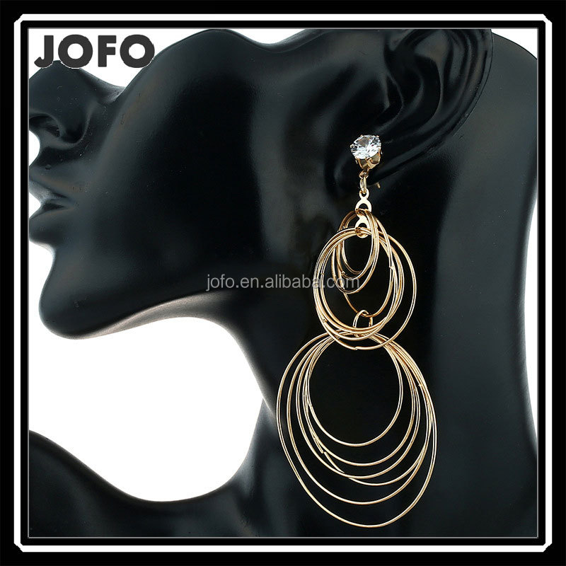 Women Brand Designer Jewelry Oversized Big Circle Large Tone Multi Layer Pendant Hoop Earring