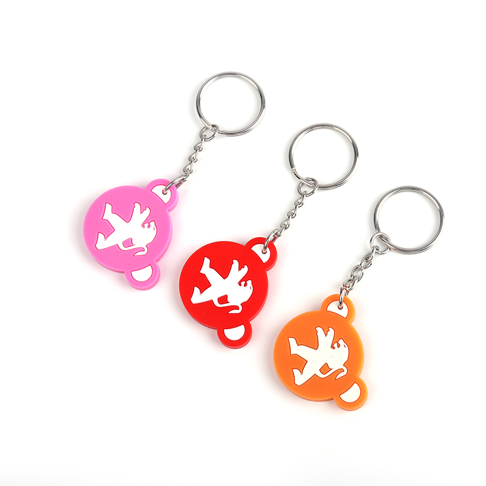 2017 Newest Car Brand Peugeot PVC Car Logo Keychain With Steel Keyring