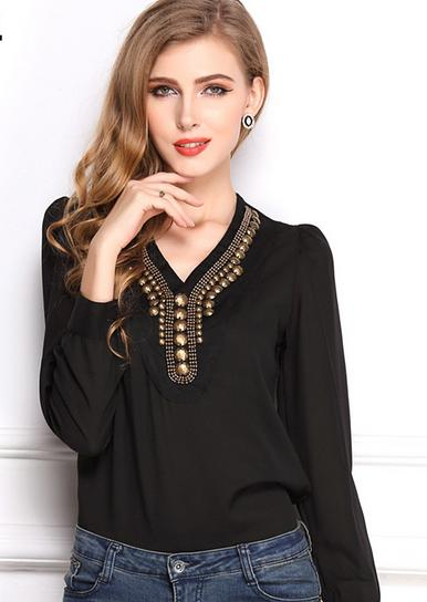Z71124A KOREAN style CHIFFON copper V-NECK LADY'S SHIRT