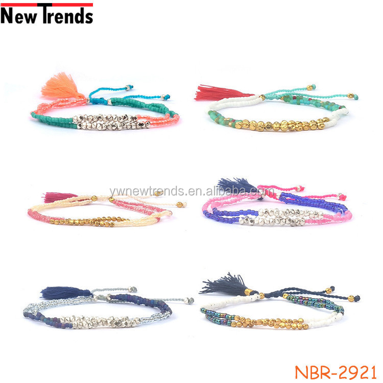 High quality multilayer Boho tassel bracelet jewelry handmade glass seed bead tassel bracelet