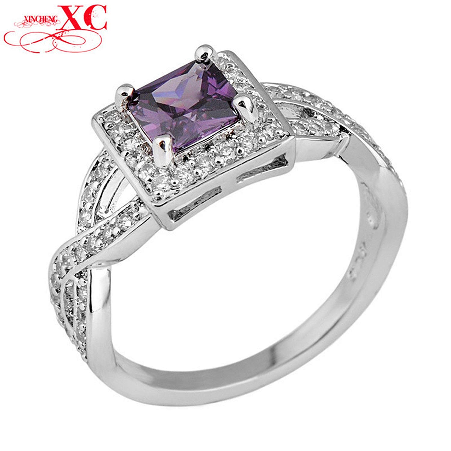 GDSHOP Princess Cut Amethyst Vintage Jewelry Women Ring Anel Aneis Size 6-10 White Gold Filled Purple Sapphire Engagement Rings