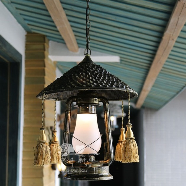 Straw hat square shade villa decor indoor pendant lights
