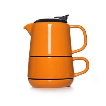 570ml orange stump tea for one with flip top and infuser basket