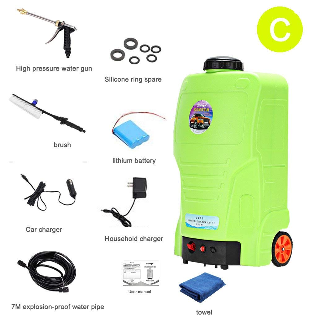 Roscloud@ 220V Car Wash Water Gun Household Electric Car Washer Portable Water Gun Brush Pump Car Washer Jet Cleaning Tool 65W High Electric Wash Washer Kit Water Pump (Color : C)