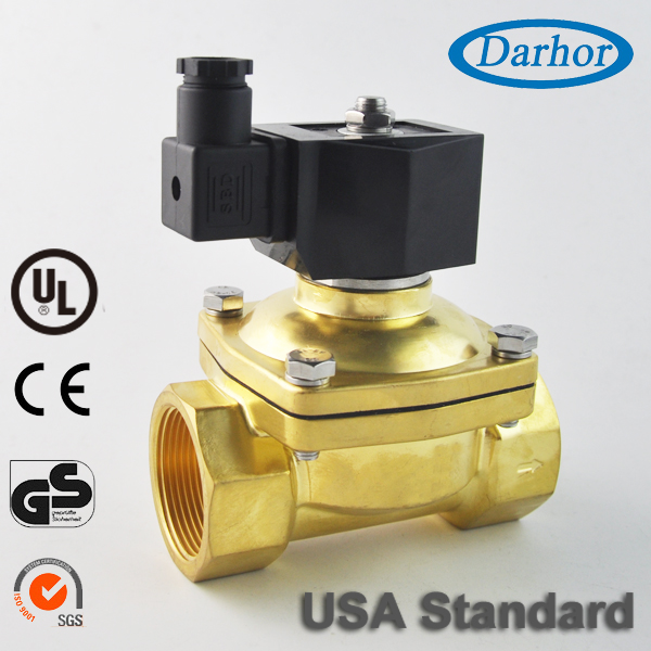 "1 1/2"",12/24-Volt DC 2W21 Brass Electric Solenoid Valve Water Oil Air <strong>Gas</strong>,NC,NBR/EPDM"