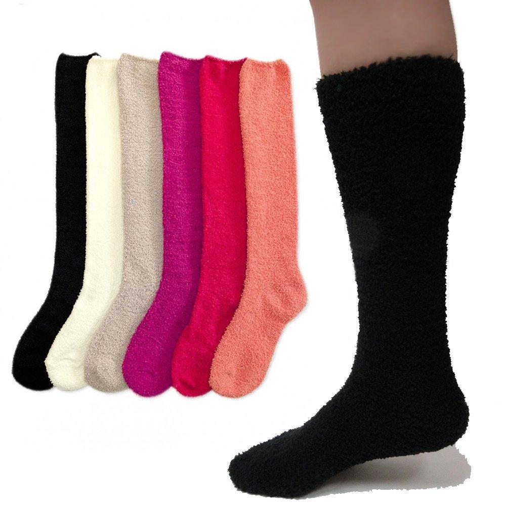 f6e31eccb70 3 Pairs Women Girl Winter Socks Knee High Long Cozy Fuzzy Slipper Soft 9-11