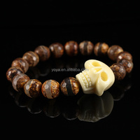 BRU0680 Brown Tibetan Stripe Agate Beaded ivory skull bracelet