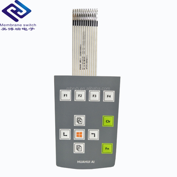 Embossed tactile button membrane keypad with PET graphic overlay
