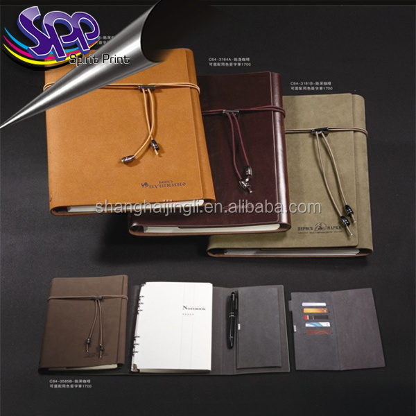 New product high quality customized office supply leather cover a5 6 ring binder notebook
