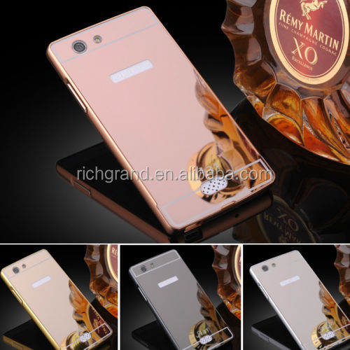 Fashion Aluminum Metal Frame Bumper PC Mirror Back Case For OPPO A31