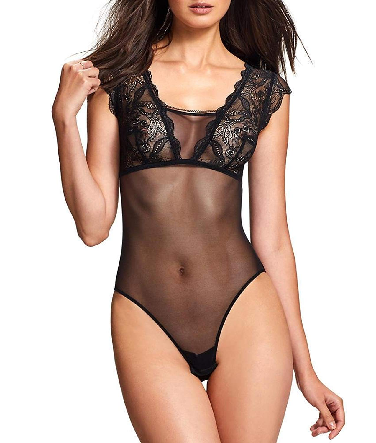 Get Quotations · Jezebel Women s Eleanor Lace and Mesh Bodysuit Underwear 4a0100268