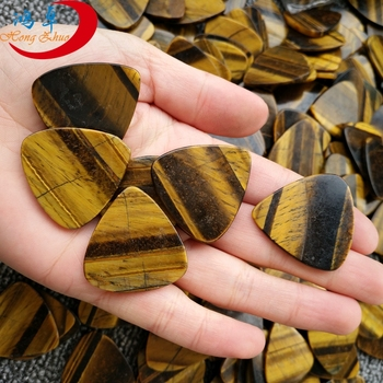 Wholesale semi-precious stone guitar picks custom tiger eye chinese gemstone pick