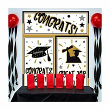 "Large Grad Horizontal Black Silver and Gold Graduation Party Wall Plastic Banner Decoration 65"" x 33"""