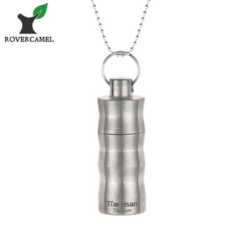Titanium waterproof cylinder pendant necklace lightweight pill case titanium waterproof cylinder pendant necklace lightweight pill case pocket pill box keychain container for travel camping aloadofball Choice Image