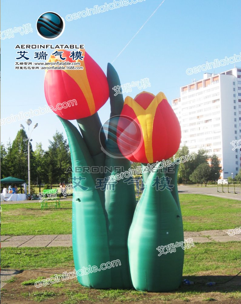 Beautiful inflatable flower tulip/flower for decoration, inflatable park flower, props