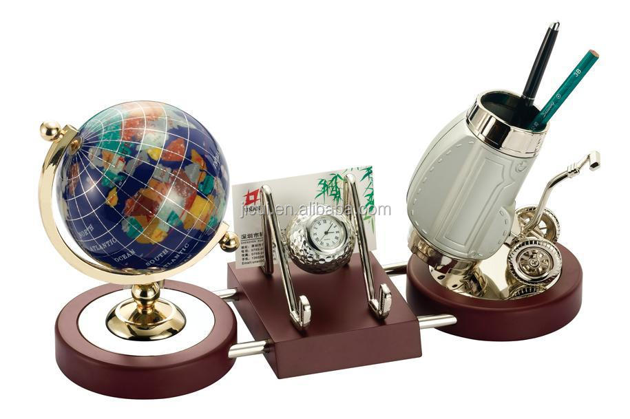 Good Exquisite Crystal Globe And Pen Holder Office Desk Decoration Gift