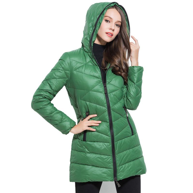 2016 New font b Winter b font White Duck Down Jacket Women Hooded Long Parka Warm