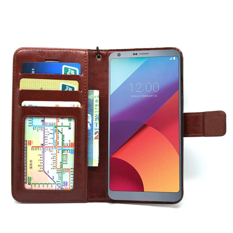 Premium Leather Pu flip cover case for LG G6