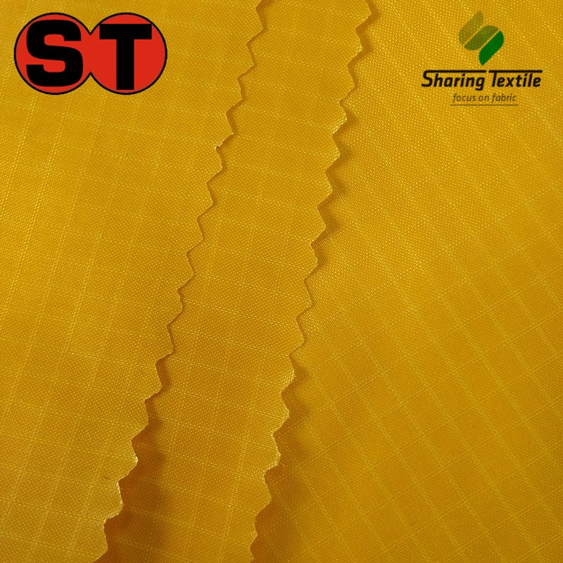 Factory Nylon Polyamide 40D 70D Dobby Jacquard Two Double Threads Pu Coating Grid Ripstop Check Fabric