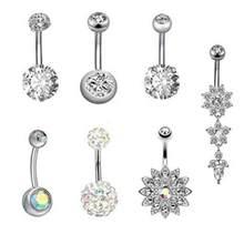 7 цветов 6 шт нержавеющая сталь горный хрусталь кольцо пупка пирсинг ногтей(Китай)