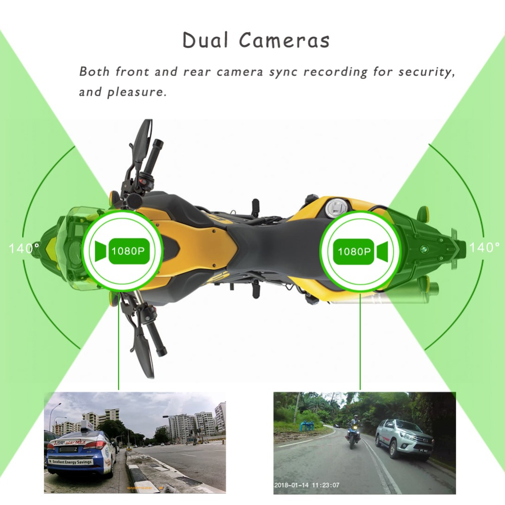 Vsys 2018 innovation  WiFi motorcycle DVR with mobile phone holder mobile phone charger and dahscam DVR 3 in 1 waterproof design
