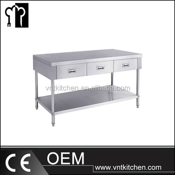 Vnts028 Customized Restaurant Kitchen Stainless Steel Worktable With Drawers